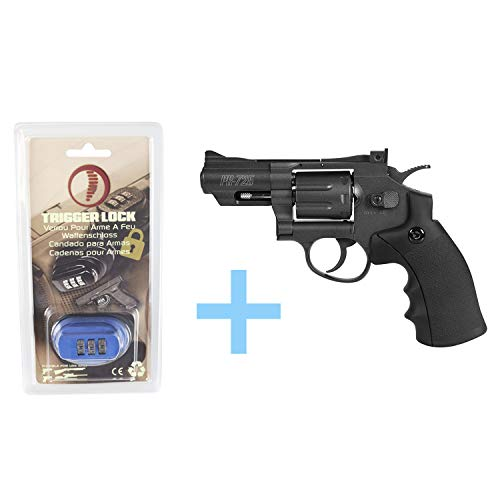 Gamo Pack Revolver Aire Comprimido (CO2) PR-725 / Full Metal, Revolver co2, Potencia de 3 Julios, Calibre de 4.5 mm + Candado de Seguridad Yatek. Pistola de balines.