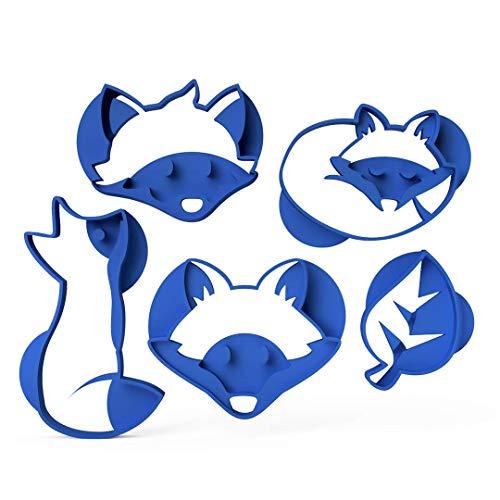 3DreamsDesign 5er Set Keksausstecher Herbst Ausstechform Waldtiere Fuchs Blatt ideal als Ausstecher für Fondant Marzipan Teig aus Bio-Kunststoff Made in Germany
