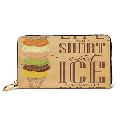 Women's Long Leather Card Holder Purse Zipper Buckle Elegant Clutch Wallet, Vintage Life is Short Eat Ice Cream First Typography with Colorful Scoops On Cone,Sleek and Slim Travel Purse