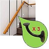 Parpyon® - 3 soportes para pasamanos de madera con tornillos y tacos para fijación a la pared, varios colores, bronce
