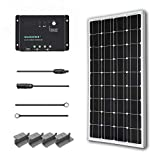 Renogy 100 Watts 12 Volts Monocrystalline Solar Starter Kit for RV, Boat (Renewed)