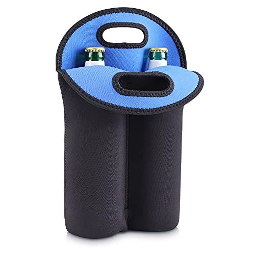 kwmobile Funda de neopreno para botellas - Enfriador para 4x botella de 500 ML - Accesorio refrigerador de bebidas en negro/azul oscuro