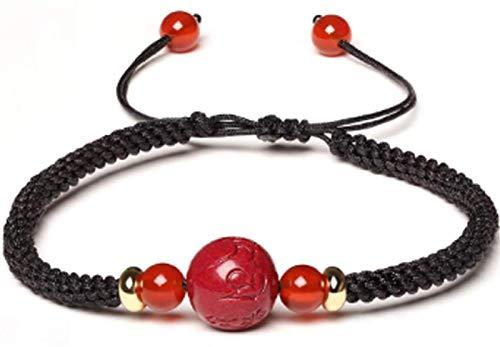 TIANYOU Pulsera Afortunada Feng Shui Cinnabar Transfer Beads Pulsera con Cuentas de Abalorios de Ágata Roja Pulsera Tejida a Mano Amuleto para Atraer Dinero, Negro, 10 Mm clásico