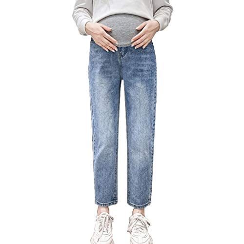 Pantaloni Premaman Prenatal, Premaman Jeans Donna, Pantaloni da Gravidanza, Maternity Jeans Elastico a Vita Alta Blu/L