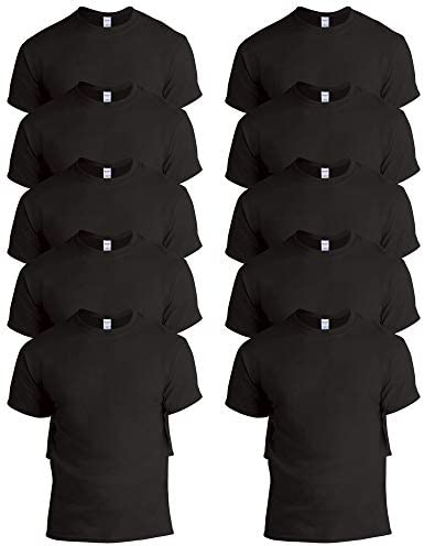Gildan Men s 10 Pack Heavy Cotton Adult T Shirt G5000 Black Medium product image