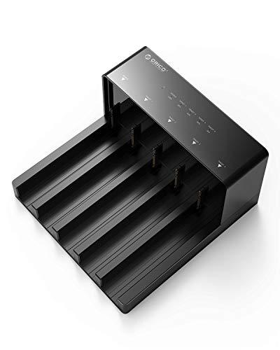 ORICO HDDケース 2.5 / 3.5インチ USB3.0接続 SATA ハードディスクケース HDDコピー機能付き 対応5ベイ ドライブケース 工具不要 高放熱 10TB*5対応 電源アダプター付 ブラック 6558US3