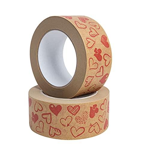 Zuzii Papier-Klebeband | Kraft-Packband | Dekoband | Eco Umweltfreundlich | 50mm x 60M | 1 Rolle (Heart))