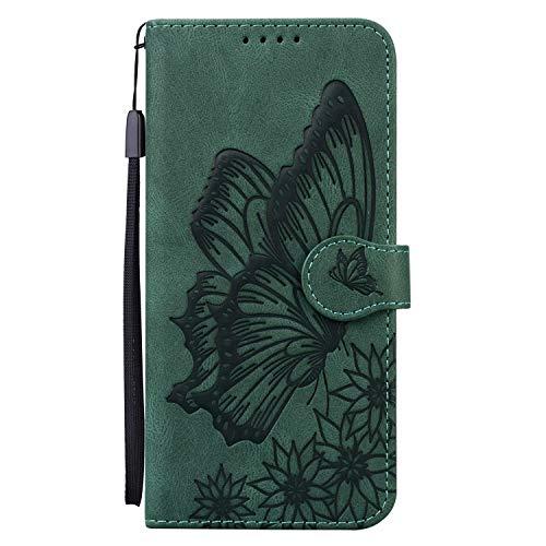 Miagon Hülle für iPhone 11,Schutzhülle PU Flip Leder Brieftasche Handytasche mit Retro Schmetterling Entwurf Kartenfächer Klapp Handyhülle,Grün