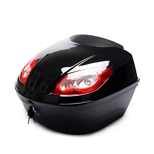 MKOIJN Baúl de Moto E-Bike Box Electric Scooter Tronco Motocicleta Tapa Hard Casco Caja Almacenamiento Cola Caja Equipaje con Lámpara Reflectante, Bolsa Asiento Motocicleta