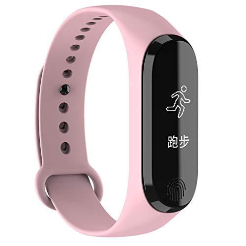 Smart Watch Monitor de Ritmo Fitness Tracker Smart Wristband Bracelet monitorear la Actividad de Seguimiento de BOT de Bluetooth Pulsera Brazalete Deportivo Impermeable IP67 de la Aptitud (Rosa)