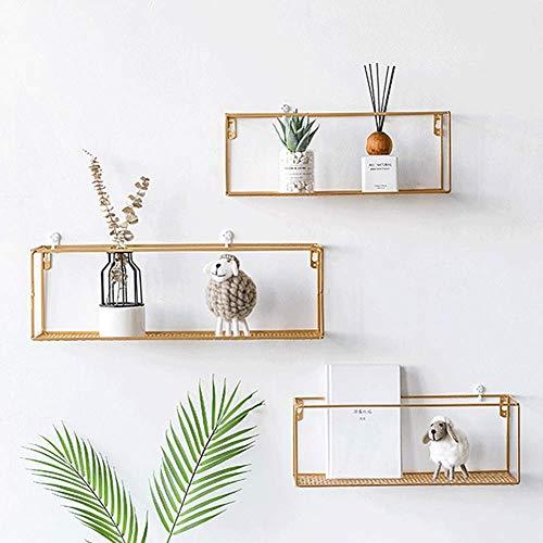 nakw88 Nordic Style Floating Shelves Wall Mounted, Wrought Iron Wall Shelves, Iron Rack Wall Hanging Shelf Floating Shelving Home Decor for Bedroom, Living Room, Kitchen, Bathroom