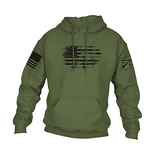 Grunt Style Vintage American Hoodie (Military Green, Small)