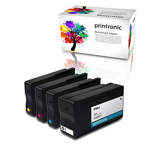 Printronic Remanufactured Ink Cartridge Replacement for HP 950xl HP 951xl (1 Black 1 Cyan 1 Magenta 1 Yellow) for OfficeJet Pro 251dw 276dw 8100 OfficeJetPro 8600 Printers (4 Pack)