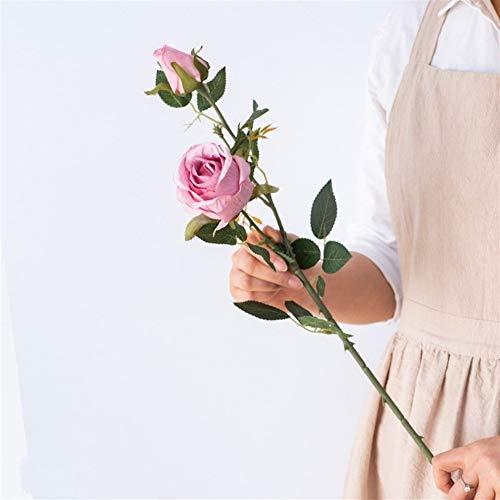 SOQHD Künstliche Blumen, gefälschte Blumen Silk künstliche Rosen 2 Köpfe Braut Hochzeit Blumenstrauß for Hausgarten-Partei-Hochzeit Dekoration (Color : Purple)