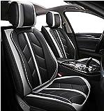 Flexzon - Fundas para asientos delanteros de coche de piel sintética, color gris