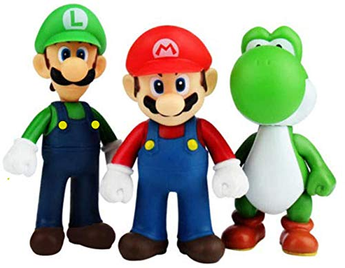3 PCS Mario and Luigi Toys Figurines– Super Mario Action Figures Toys– Mario Toy for Boys– Mario Action Figures with Movable Heads and Arms– Premium Mario Cake Toppers Decoration
