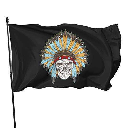 Banner mit Totenkopf und Indianer-Kopfschmuck, 7,6 x 12,7 cm