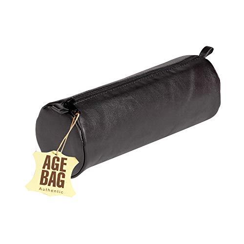 Clairefontaine 77031C Schlampermäppchen Age Bag (aus Leder, 22 x 8 cm, rund, groß, mit Metallverschluß) schwarz