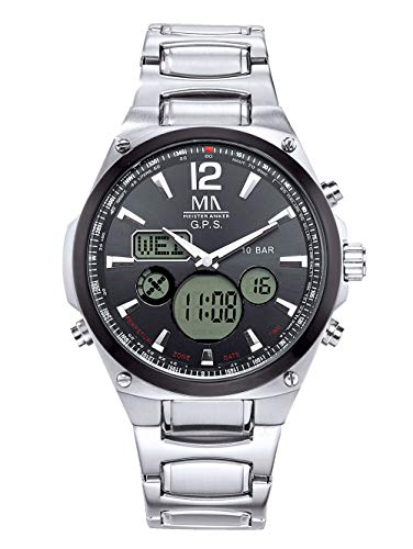 Meister Anker Herren Analog-Digital Uhr in Silberfarben mit Armband in Silberfarben aus Edelstahl