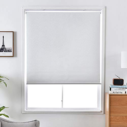 ALLBRIGHT Blackout Window Shades Cordless Window Blinds with UV Protection Thermal Roller Blinds Darkening Blackout Curtain (White, 25''W x 72''H)
