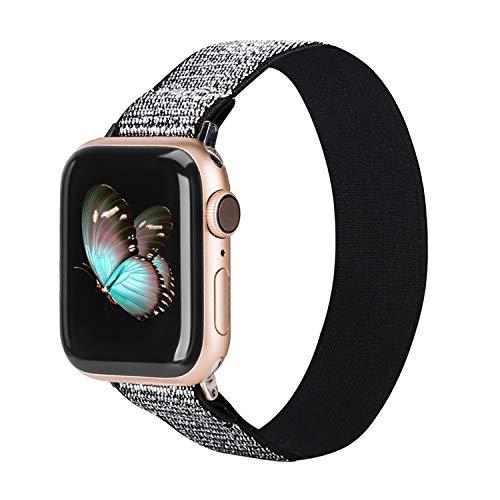 Ownaco Correa elástica compatible con Apple Watch SE, banda elástica de 42 mm, 44 mm, patrón de plata, correa de nailon suave, correa de repuesto para iWatch Series 6 5 4 3 2 1, tamaño grande
