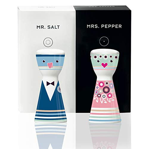 RITZENHOFF Mr. Salt & Mrs. Pepper Salz- und Pfefferstreuer von Petra Mohr, aus Porzellan, mit trendigen Motiven
