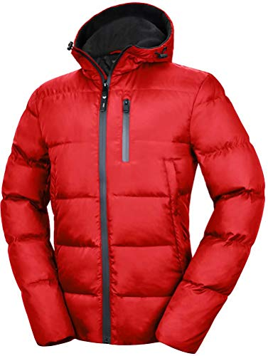 Valuker Men's Down Jacket With Hood 90% Down Coat Puffer Jacket Hooded 36-Red-M