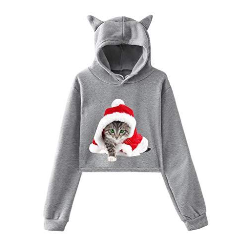 VEMOW Katze Gedruckt Kapuzenpullover für Weihnachten Damen Langarm Sweatshirt Hoodie Karneval Top Streetwear Frauen Oberteil mit Katze Ohr Kapuzen