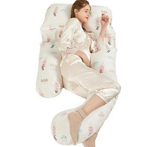 Maternity pillow-XHZ Pregnant women sleep on the side of the stomach pillow, U-shaped multifunctional cushion lumbar pillow, Sleeping artifact 170x100cm 3 colors (Color : Color1)