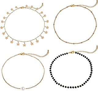 Lateefah Gold Star Pearl Choker Necklace -4 Pieces Set Dainty Pendant Handmade Necklace for Women Girls …