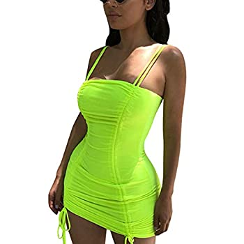 LuFeng Women s Double Spaghetti Strap Ruched Bodycon Sexy Dresses Party Night Club Dresses Neon Lime
