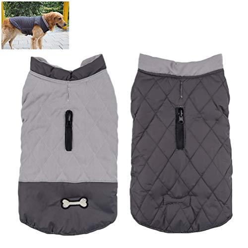 Hihey hondenkleding hondenjas zeer warm voor winter en koud weer, extra zacht, winddicht hondenvest L grijs