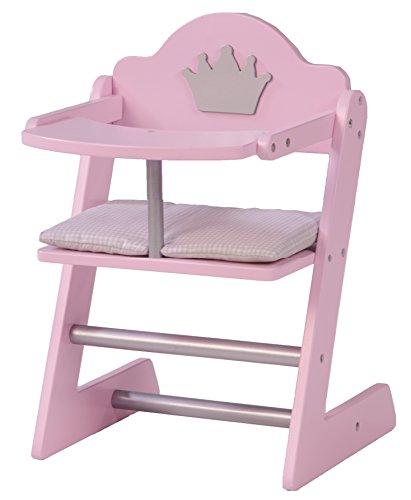 Trona de muñecas roba, Mobiliario de la coleccion \'Princess Sophie\', Trona para muñecas, accesorio para muñecas, acabado rosa/plata con corona.