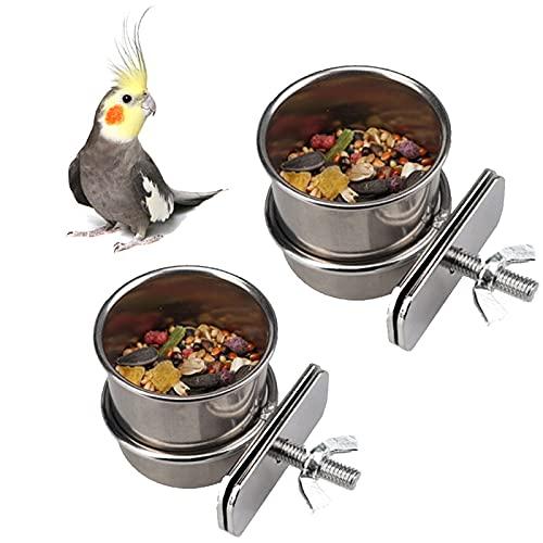 Cuenco de Comida Colgante 2 Piezas Comedero Inoxidable Loro con Gancho Contenedor de Comida para pájaros para Animales pequeños, pinzones,Periquito (4,4cm/5,5cm)