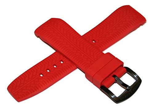 Swiss Legend Correa de Reloj de Silicona roja de 26 mm y Hebilla Negra de Acero Inoxidable para Reloj Sprinter de 47 mm