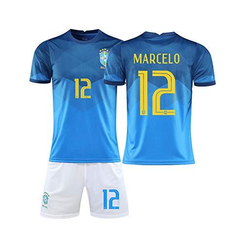 LCHENX-Conjunto de Camiseta de Fútbol para Fanáticos de Hombres Equipo Nacional de Fútbol de Brasil Marcelo Vieira da Silva Junior # 12,Azul,M