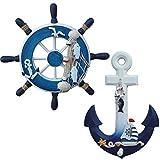 Tangger 23CM Rueda de Barco de Madera y 28CM Ancla Madera Decoración de la Pared de Estilo Mediterráneo,Decoración Náutica de la Pared
