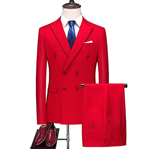LEPSJGC ファッションメンズブティックビジネスダブルブレスト無地スーツ/男性スリムウェディング3ピースブレザージャケットパンツベスト (Color : Red, Size : XXL code)