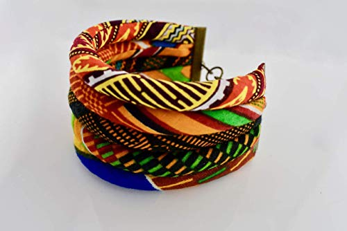 African Kente Bracelet | African Wrist Band | Sunkissed Marula Bracelet | Kente Print Bangel | African Tribe Jewelry | Afrocentric | Orange, Black, Blue, Green | Cloth & Cord