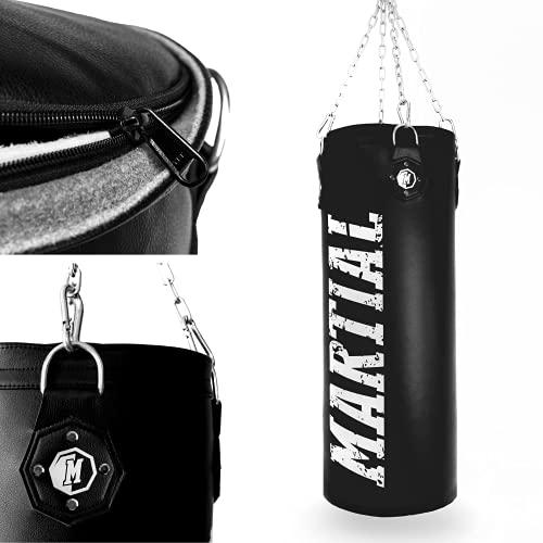 Martial Boxsack gefüllt mit 25kg & 80cm Höhe. Sandsack mit optimaler Schlagdämpfung für sicheres Training. Punch Bag mit Langer Haltbarkeit für Erwachsene & Jugendliche. Mit Kette + Karabiner!