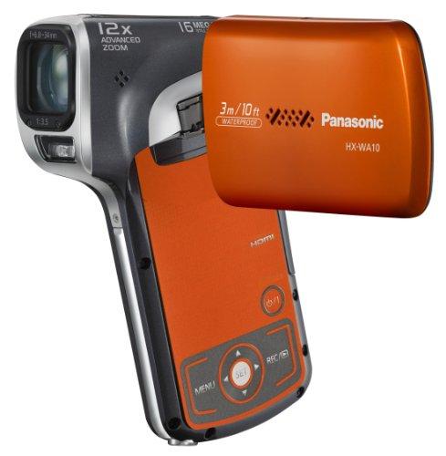 Panasonic HX-WA10EG-D Full HD Mobilkamera-Camcorder (16 Megapixel, 5-fach opt. Zoom, 6,9 cm (2,7 Zoll) Display, bis 3m wasserdicht) orange