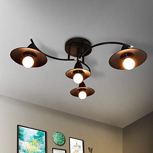 GBLY E27 Lampada da soffitto nera a 4 luci con braccio orientabile Lampada girevole orientabile Lampade a sospensione Interni moderni Sala da pranzo Soggiorno Camera da letto Lampada, Senza lampadina
