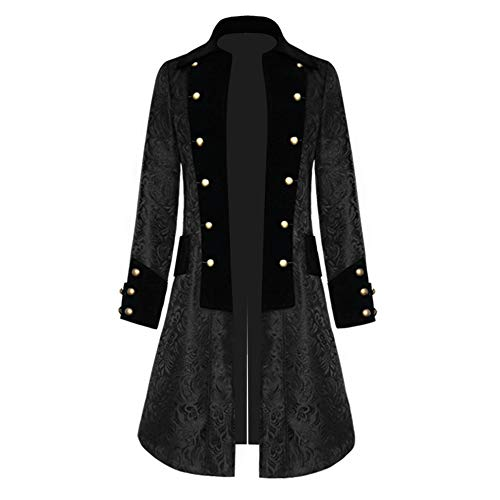 Shujin Herren Vintage Steampunk Gothic Jacke Frack Jacke Viktorianischen Langer Mantel Military Coat Cosplay Kostüm Smoking Jacke Uniform
