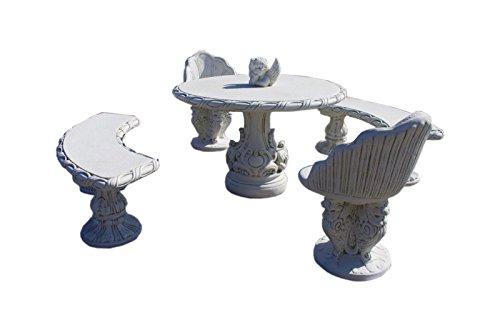 Antikes Wohndesign Garten Sitzgruppen Set 2 x Bank 2 x Sessel 1 x Tisch Steinmöbel