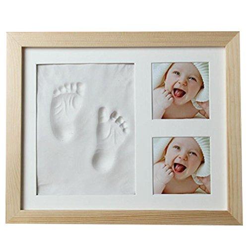 Babyfotolijst met gipsafdruk handafdruk en voetafdruk fotoalbum afmeting 30 x 25 cm baby fotolijst met gipsafdruk geweldig cadeau voor pasgeborenen wit