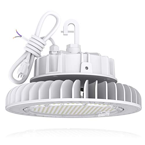 Led High Bay Light 150W 20,250LM (135lm/w) 4000K CRI>80 1-10V Dimmable 5' Cable with 110V Plug Hanging Hook Safe Rope UL Listed HYPERLITE Led High Bay Lighting for Factory Warehouse Gym