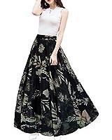 Afibi Womens Blending Chiffon Retro Long Maxi Skirt Vintage Dress (XXX-Large, Pattern 139)