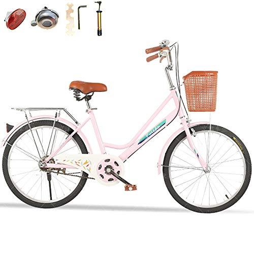 Donne Moto,Signore City Bike,Velocità Singola Bicicletta Pendolare,Altezza Regolabile,20''/22''/24''/26'',Con Strumento Campana E Assemblaggio