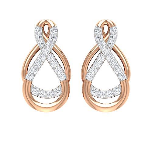 HI-SI - Pendientes de diamante para mujer, pendientes de cóctel dorados, con rosca