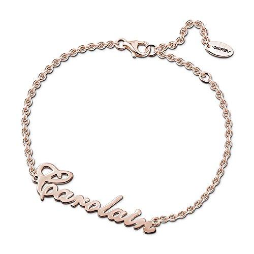 Soufeel Personalisierte Armband Armreif mit Namen Gravur 925 Sterling Silber/14K/Rósegold plattiert Geburtstag Geschenk für Frau Mama und Mädchen